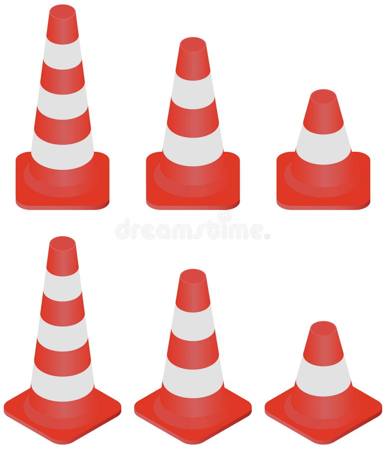 Cones do tráfego ajustados ilustração stock
