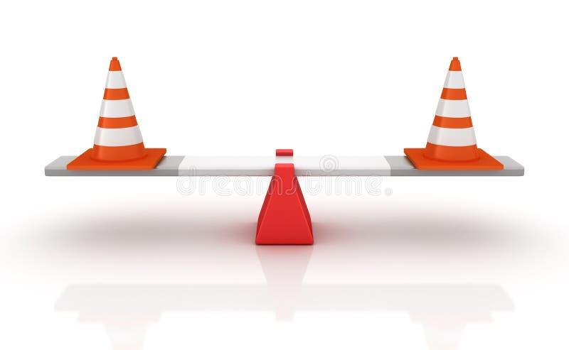 Cones do tráfego que equilibram em uma balancê ilustração do vetor
