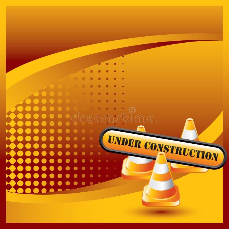 Cones e sinal de intervalo mínimo alaranjados da construção da bandeira ilustração stock
