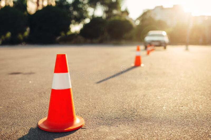 Cones for the examination, driving school concept royalty free stock photos
