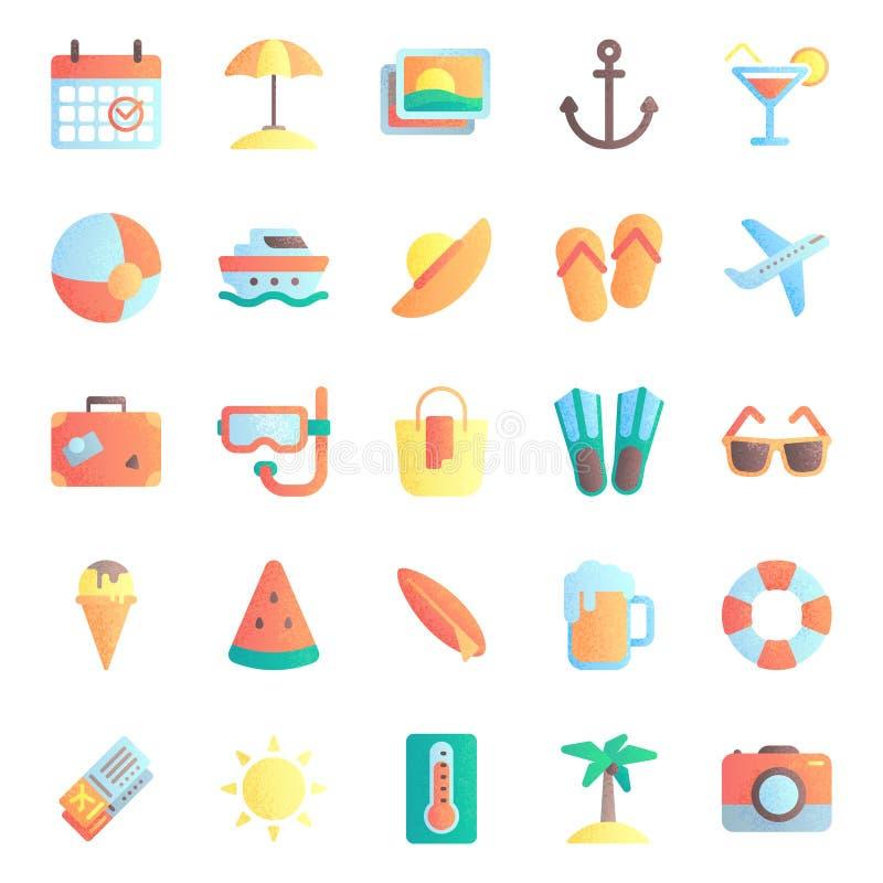 ?cones lisos do ver?o Férias do verão, guarda-chuva de praia e óculos de sol Grupo quente da ilustração do vetor do ícone do sol ilustração do vetor