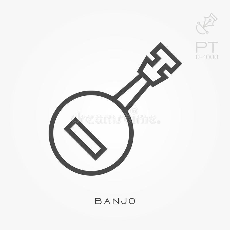 ?cones lisos do vetor com banjo ilustração royalty free