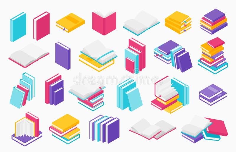 ?cones lisos dos livros Pilha de livros, de livros de texto dos compartimentos e de folhetos abertos e pr?ximos, grupo do vetor d ilustração do vetor