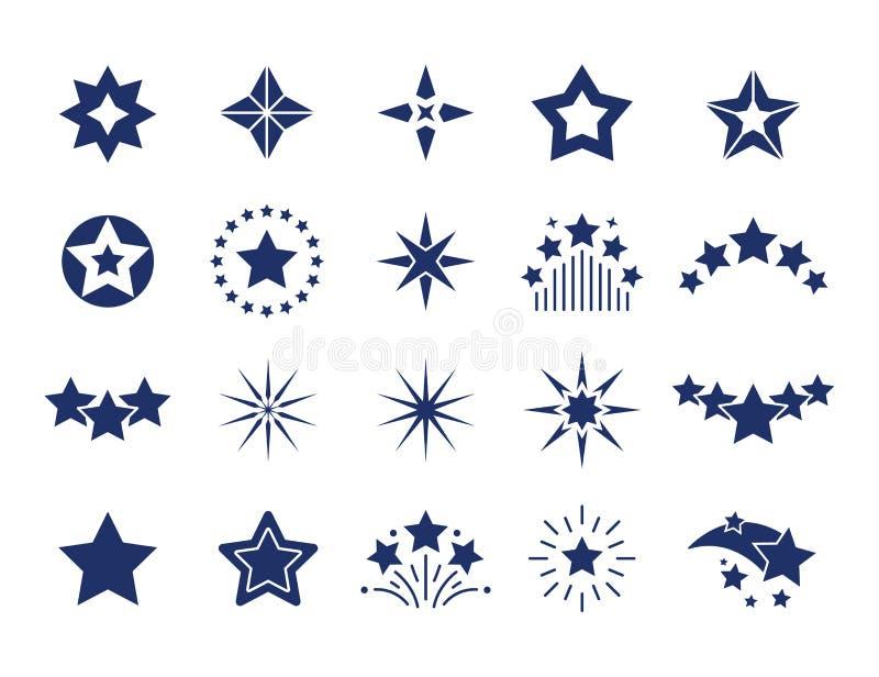 ?cones pretos da estrela As etiquetas superiores da qualidade, estrelas projetam moldes no fundo branco, formas modernas pretas E ilustração royalty free