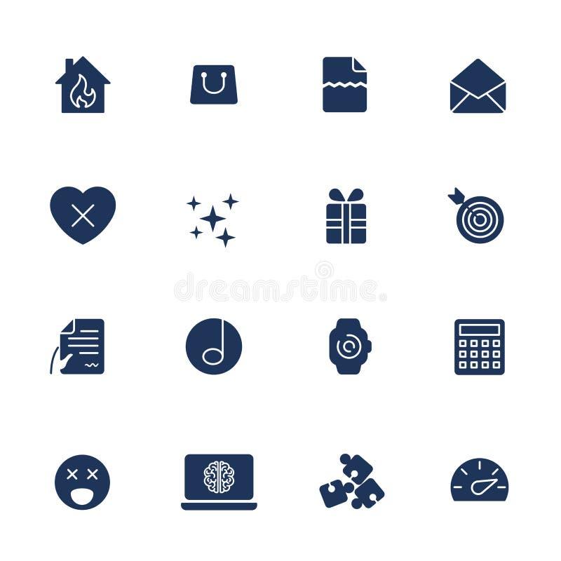 ?cones simples para o app, locais de UI, programas ?cones diferentes de UI Pictograma simples no fundo branco ilustração do vetor