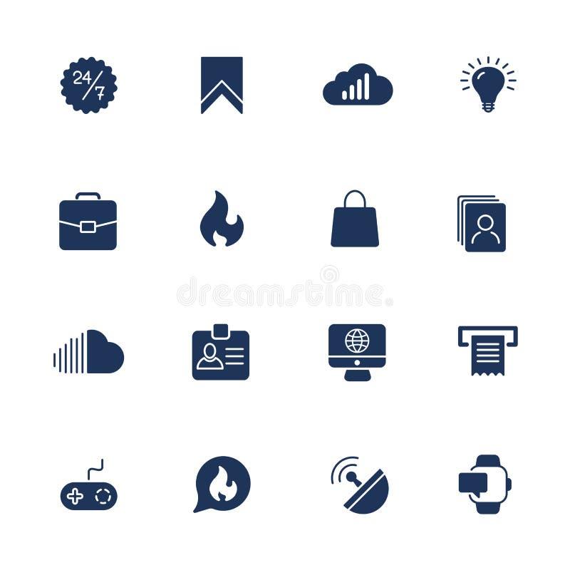 ?cones simples para o app, locais de UI, programas ?cones diferentes de UI Pictograma simples no fundo branco ilustração royalty free