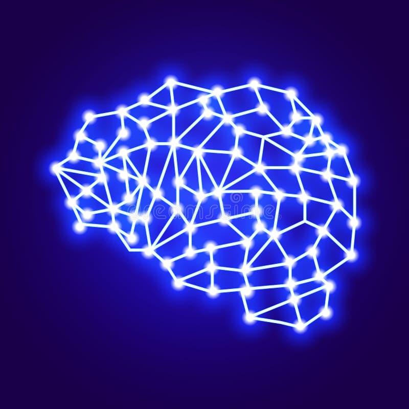 A conexão à rede do logotipo criativo do vetor O conceito do cérebro logotipo-digital Vetor ilustração stock