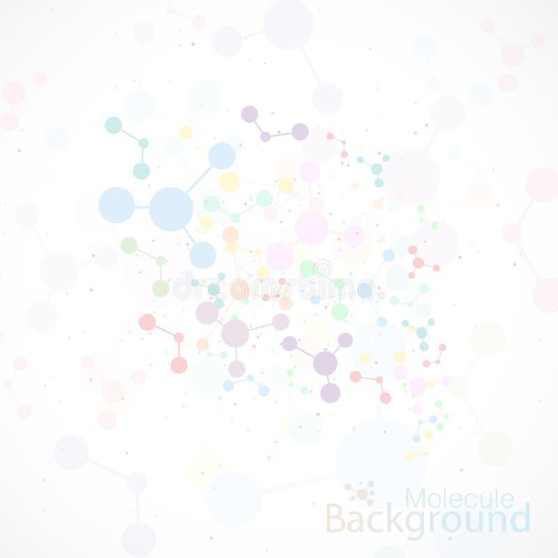 Conexão colorida da molécula e átomo do ADN Vetor ilustração royalty free