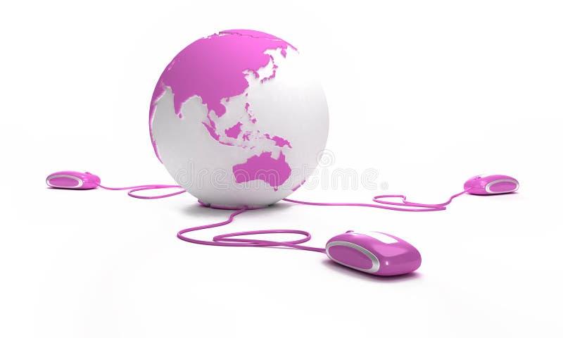 Conexão cor-de-rosa em linha ilustração stock
