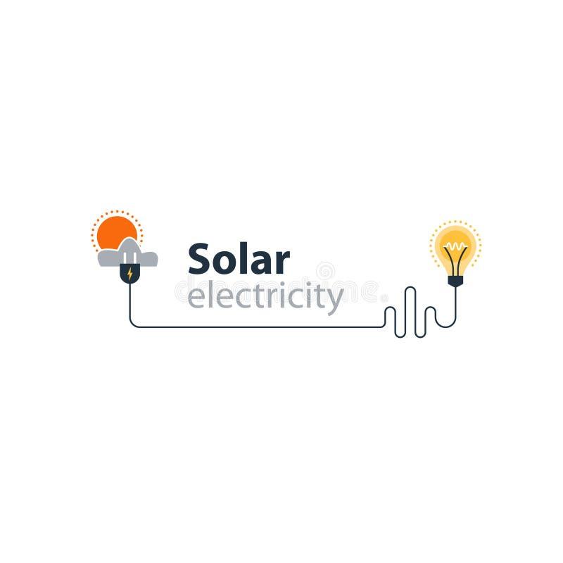 Conexão da eletricidade, fonte elétrica solar, economia de energia ilustração stock