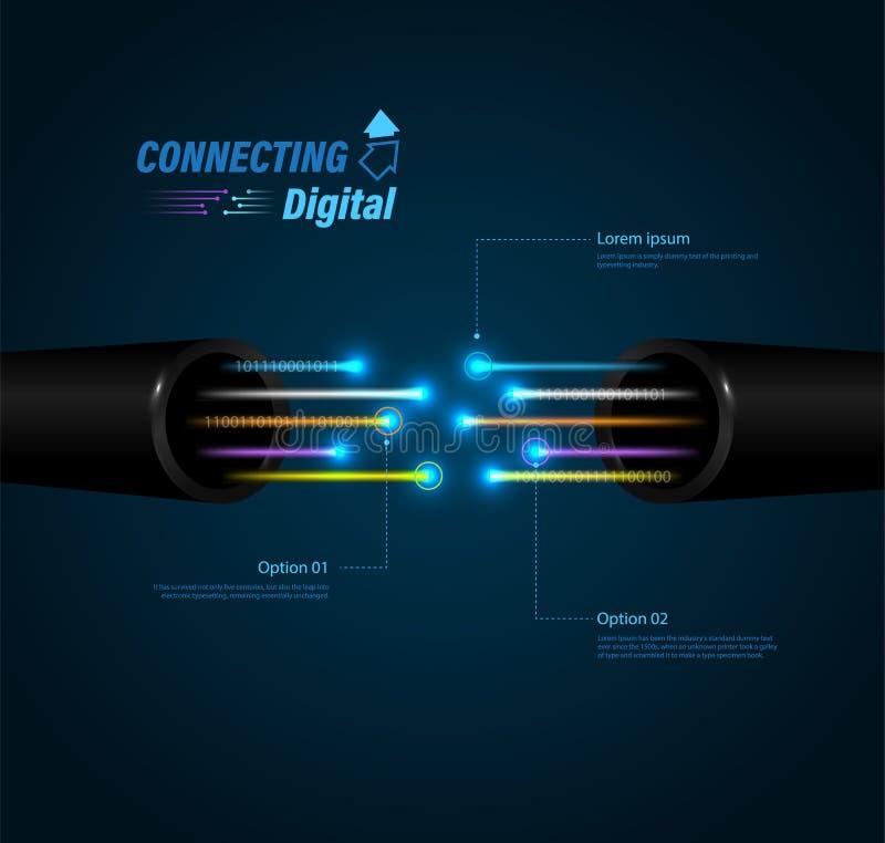 Conexão da fibra ótica ilustração do vetor