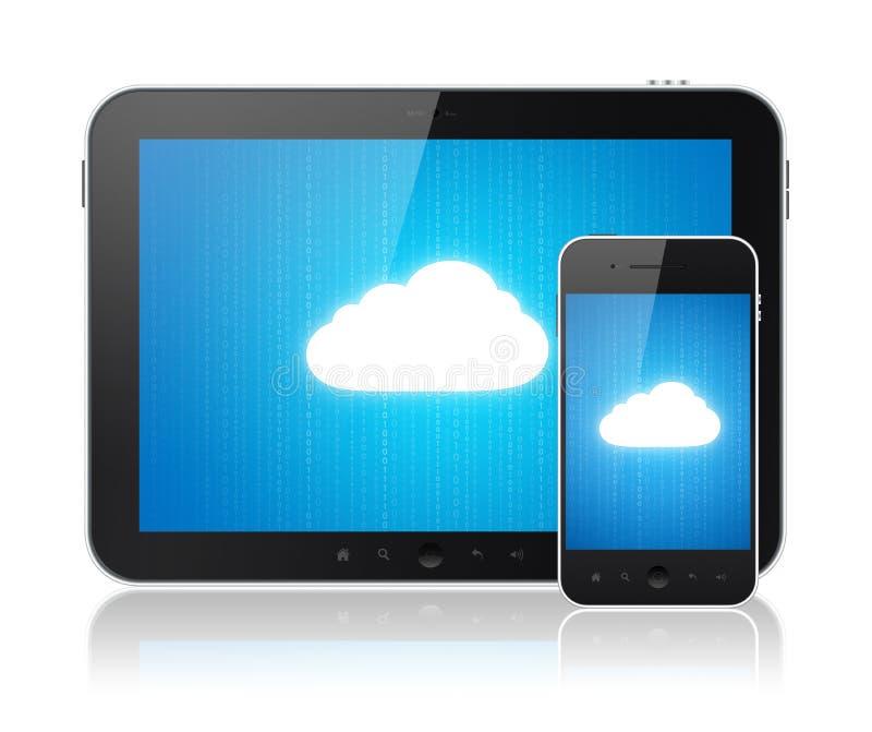 Conexão de computação da nuvem em dispositivos modernos ilustração royalty free