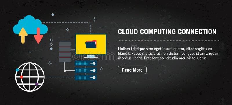 Conexão de computação da nuvem, Internet da bandeira com ícones no vetor imagem de stock