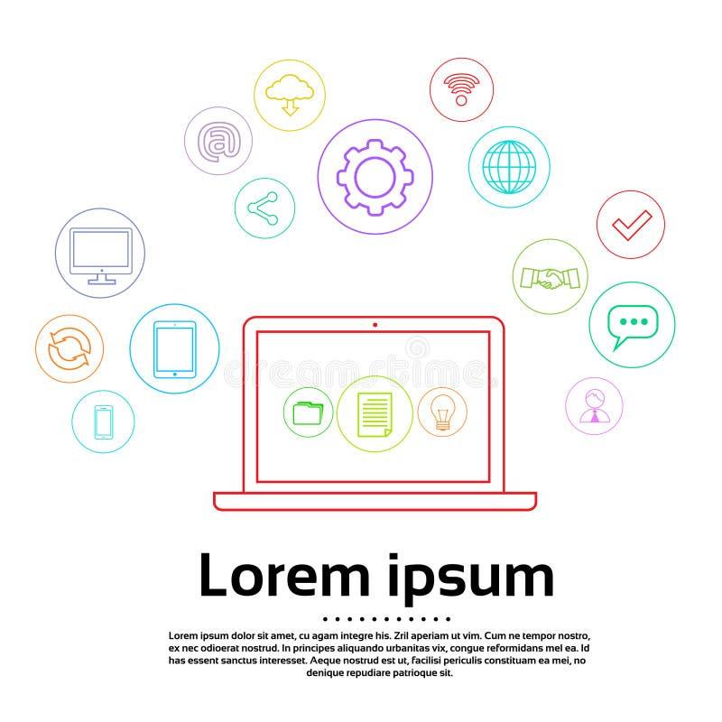 Conexão de Logo Set Computer Simple Icon do portátil ilustração royalty free