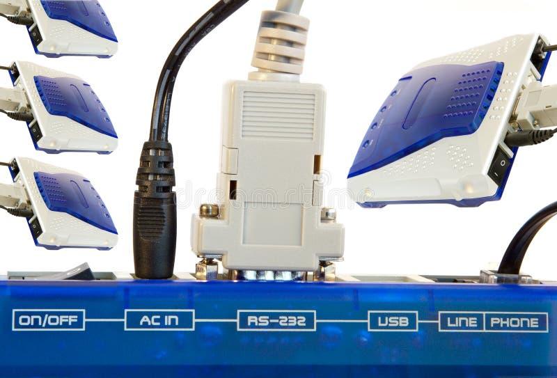 Conexão de modem imagem de stock