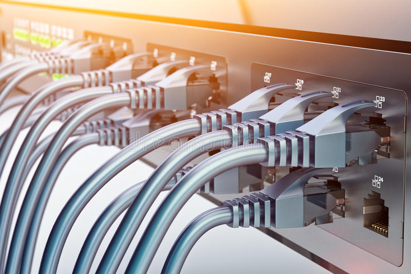 Conexão de rede e hardware de uma comunicação do Internet, equipamento de telecomunicação do centro de dados ilustração royalty free