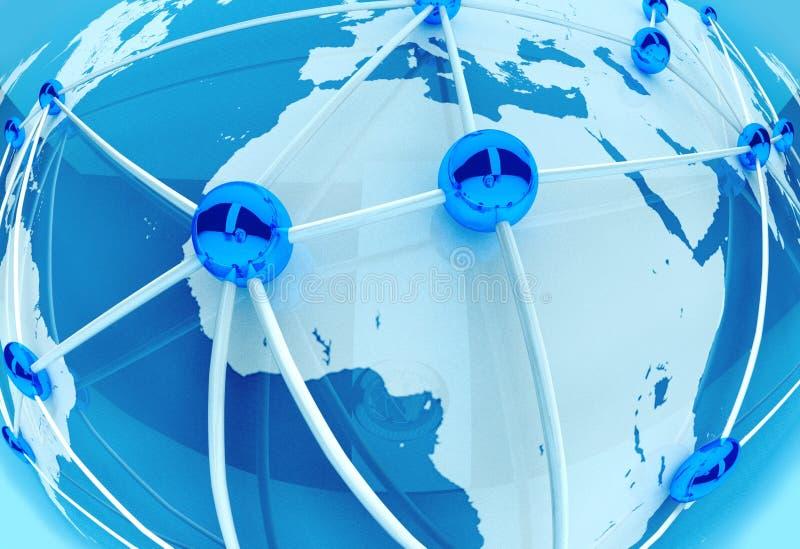 Conexão de rede e trabalhos de equipa sociais, planeta 3d ilustração do vetor