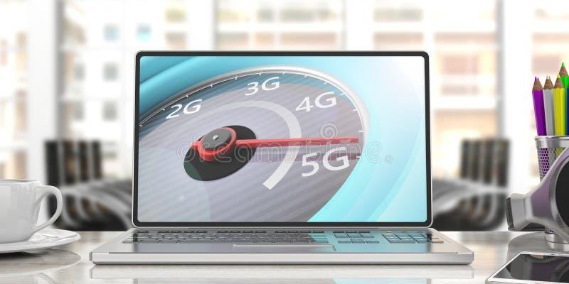 conexão de rede 5G de alta velocidade, velocímetro em uma tela do portátil do computador, fundo do escritório para negócios do bo ilustração stock