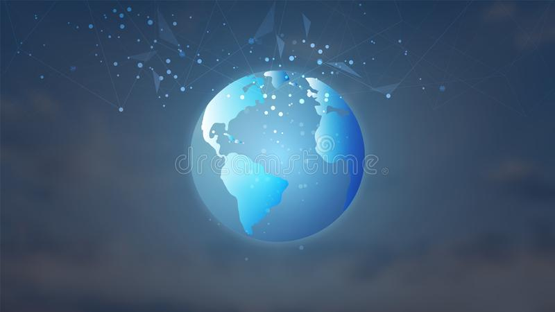 Conexão de rede global, baixo poli com os pontos e as linhas de conexão fundo ilustração royalty free