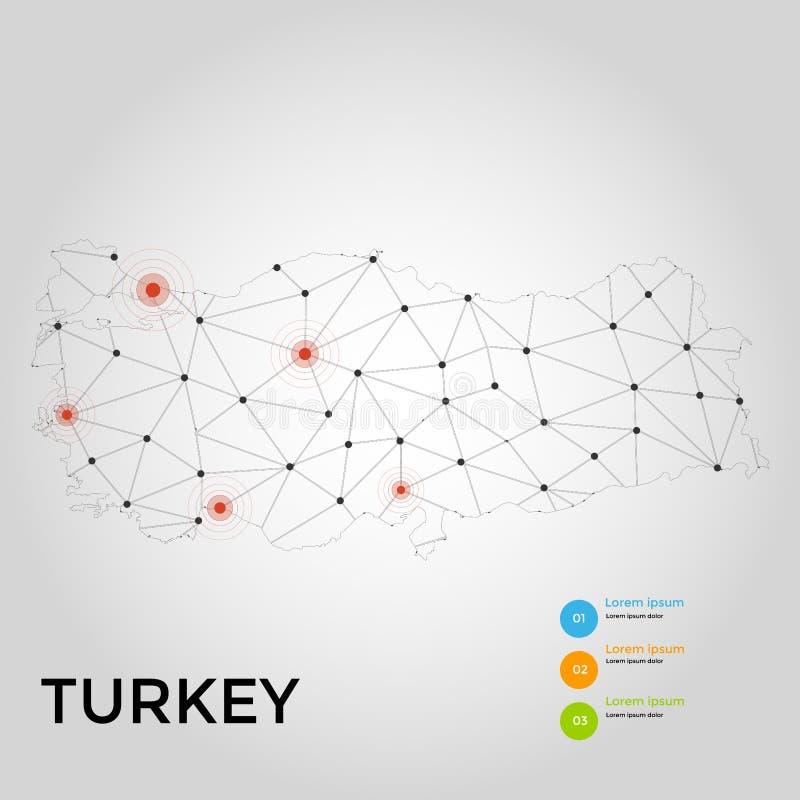 Conexão de rede global Ponto do mapa de Turquia e linha conceito da composição do negócio global Ilustração do vetor ilustração stock
