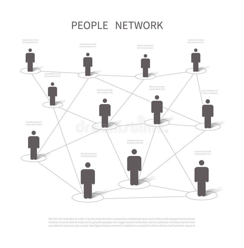 Conexão de rede humana Povos de conexão em trabalhos em rede sociais Estrutura da empresa e conceito do vetor do Internet 3d ilustração royalty free