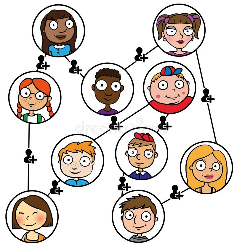 Conexão de rede social dos meios das crianças da ilustração dos desenhos animados ilustração royalty free