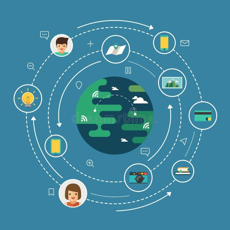 Conexão de rede social global ilustração stock