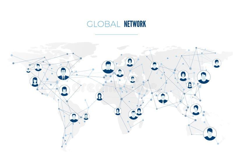 Conexão de rede social global Avatars do usuário conectados à rede mundial Conceito do Internet no fundo do mapa do mundo ilustração royalty free