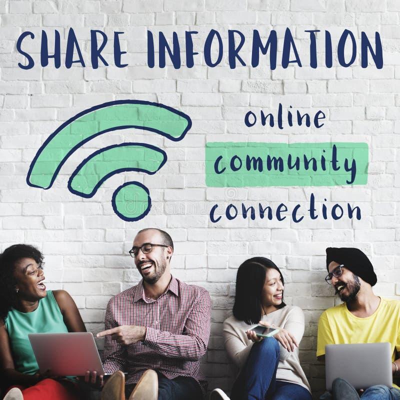 A conexão de uma comunicação dos trabalhos em rede compartilha do conceito das ideias imagens de stock