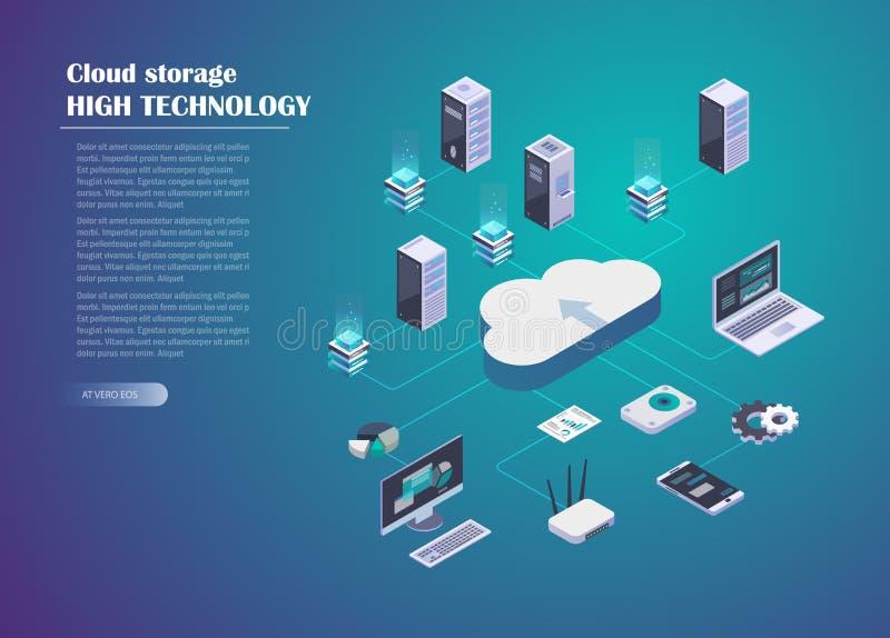 Conexão do armazenamento e de rede da nuvem ilustração do vetor