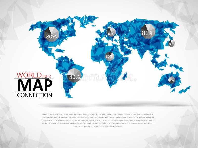 Conexão do mapa do mundo ilustração stock