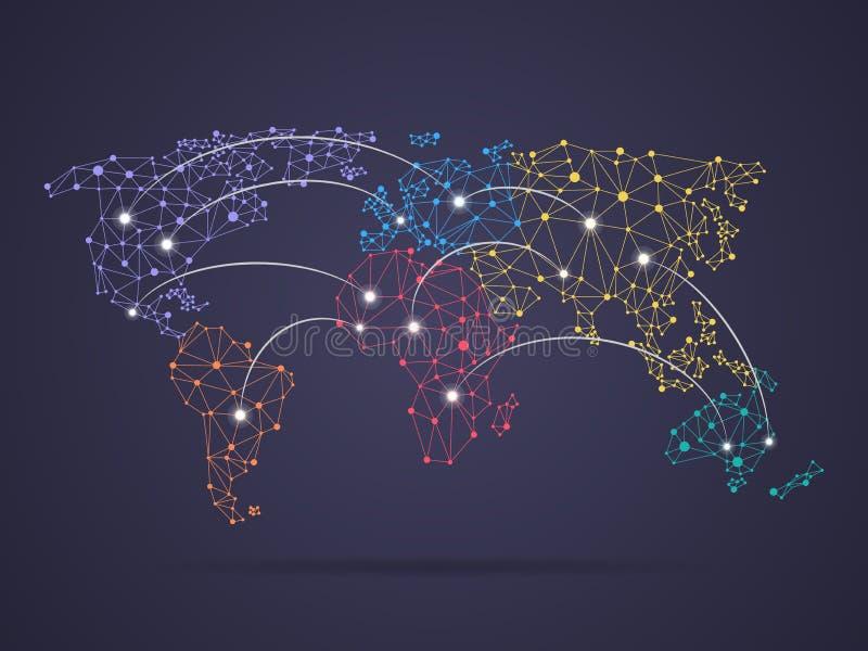 Conexão do mapa do mundo ilustração royalty free