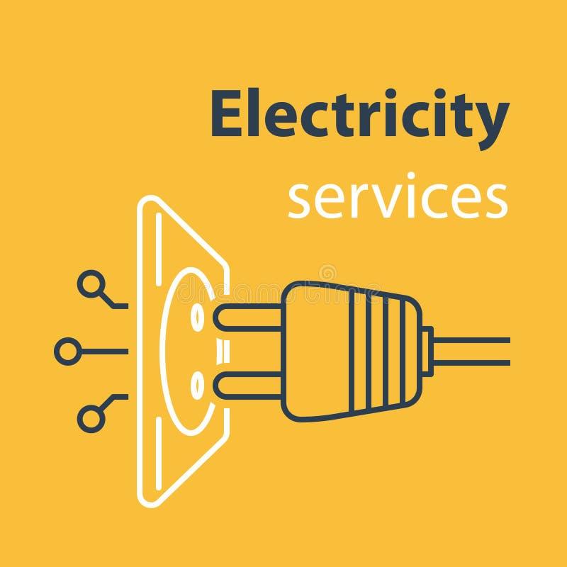 Conexão do soquete e da tomada, serviços da eletricidade, tomada elétrica, reparo e manutenção, linha ilustração ilustração royalty free
