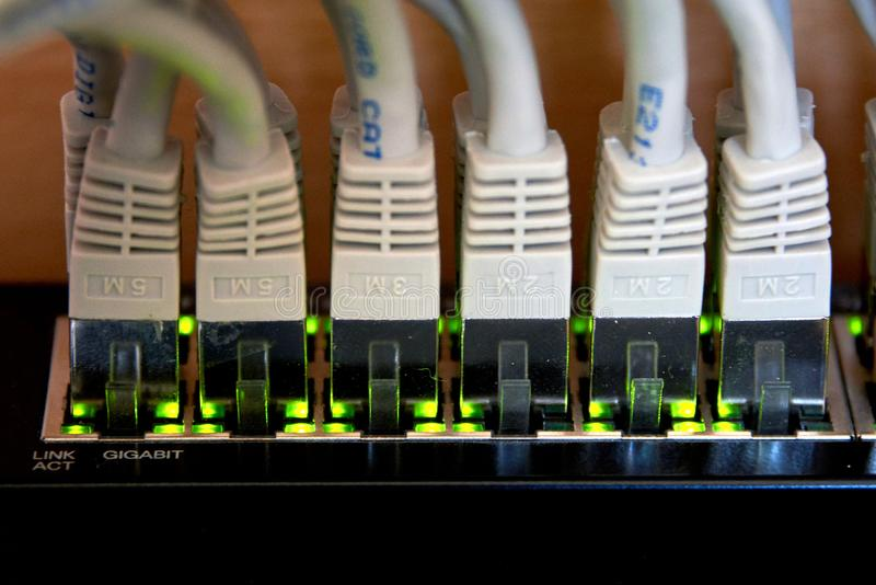 conexão dos ethernet do gigabit imagem de stock