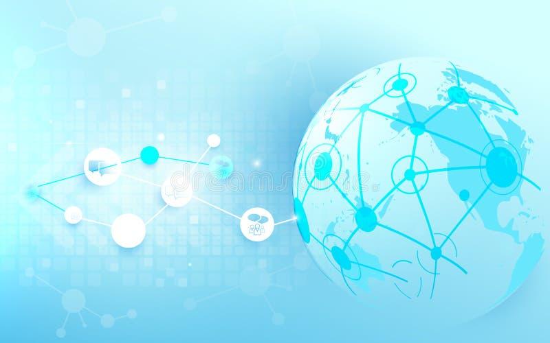 Conexão e mapa do mundo de rede global com fundo social das comunicações ilustração royalty free