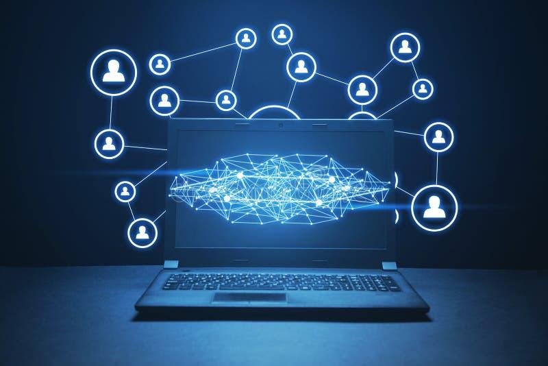 Conex?o e rede sociais Conceito do Internet e da tecnologia fotos de stock royalty free