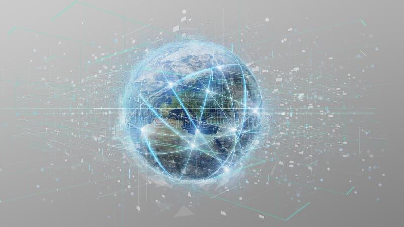 A conexão em torno de um globo do mundo em um fundo 3d arranca imagem de stock royalty free