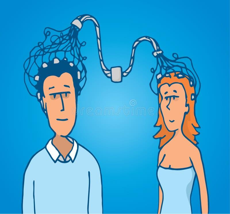 Conexão entre o homem dos pares e a mulher ilustração do vetor