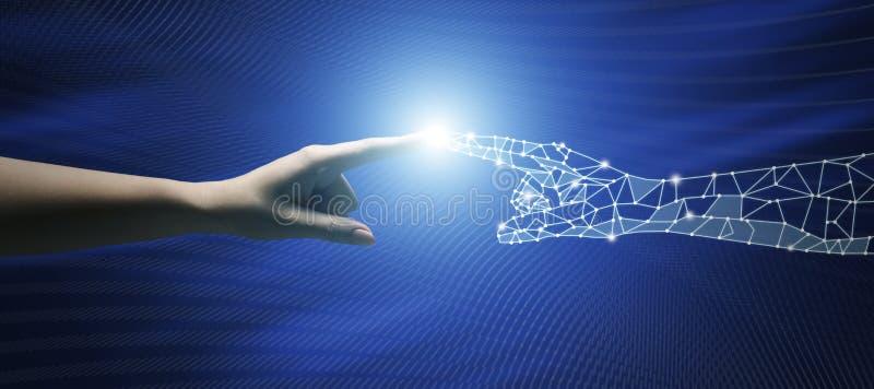Conexão entre povos e tecnologia de inteligência artificial imagem de stock royalty free