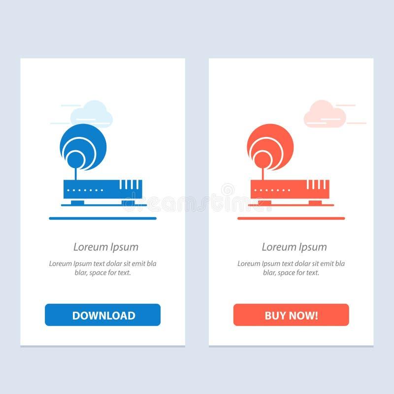 Conexão, hardware, Internet, azul da rede e transferência vermelha e para comprar agora o molde do cartão do Widget da Web ilustração royalty free