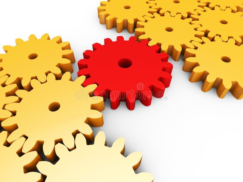 A conexão interconectada mostra Team Work And Cogs ilustração do vetor