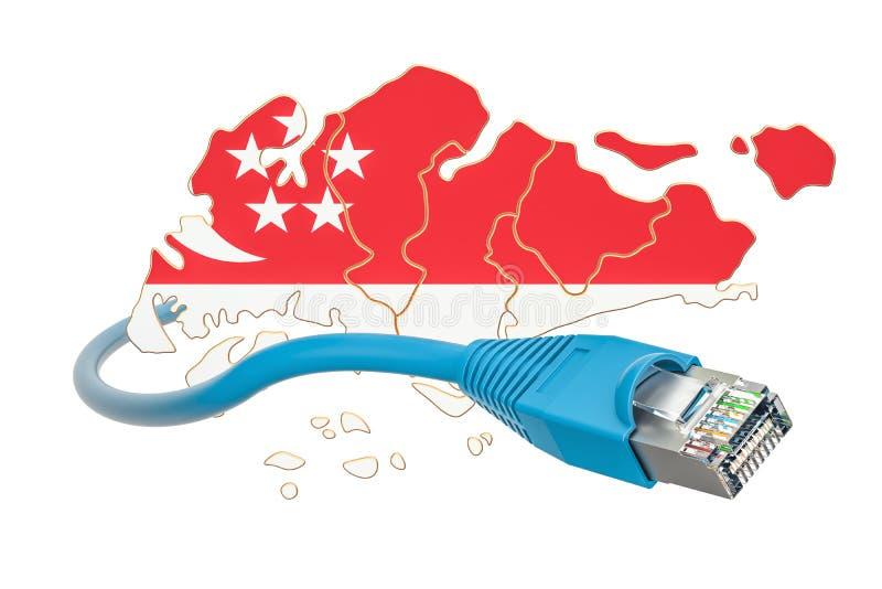 Conexão a Internet no conceito de Singapura rendição 3d ilustração do vetor
