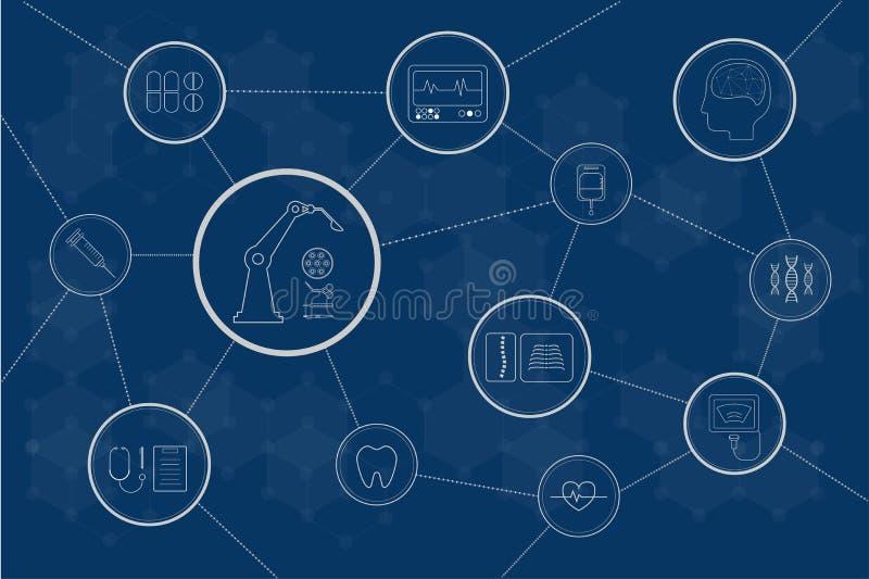 Conexão médica dos ícones ilustração do vetor