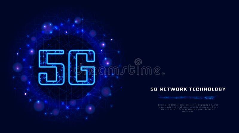conexão sem fio do wifi do Internet 5G com os dados digitais no baixo fundo poli do sumário Nova geração de rede de alta velocida ilustração do vetor
