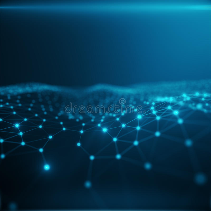 Conexão tecnologico no computador da nuvem, rede azul do ponto, fundo abstrato, conceito da representação da rede ilustração stock