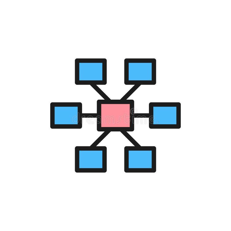 Conexões, ícone liso da cor da hierarquia Isolado no fundo branco ilustração royalty free