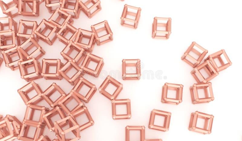 Conexões caóticas abstratas do cubo ilustração stock