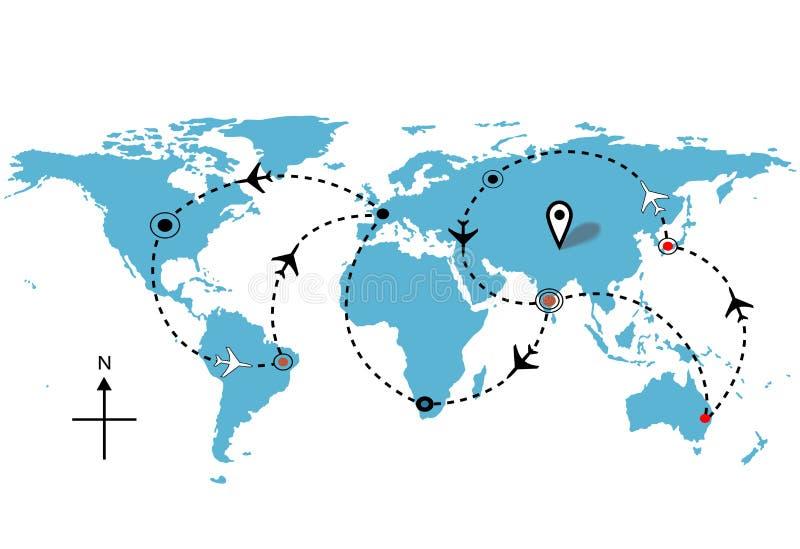 Conexões das plantas de curso do vôo do avião do mundo ilustração royalty free
