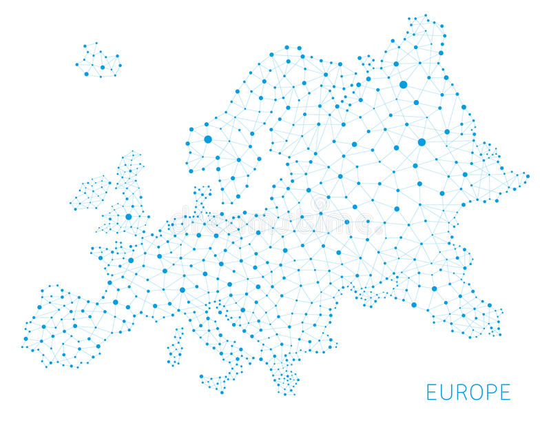 Conexões de rede do mapa de Europa, fundo foto de stock royalty free