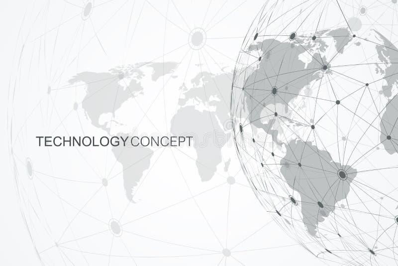 Conexões de rede global com o mapa do mundo Fundo da conexão a Internet Estrutura abstrata da conexão polygonal ilustração royalty free
